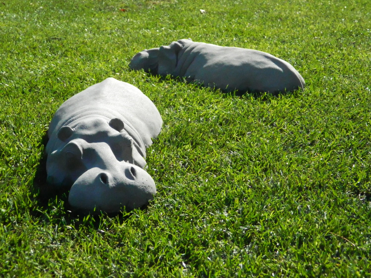 pair of garden ornaments cute hippos for your garden hippos for christmas gifts birthday. Black Bedroom Furniture Sets. Home Design Ideas
