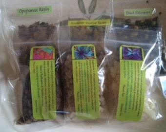 Incense resin set: 6 resins 1/2 oz each ~ or choose Frankincense ~ Myrrh ~ Kashmir ~ Black ethiopian ~ Copal ~ Opopanax