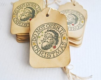 20 Do Not Open Til Christmas Rustic Xmas gift tags. Coffee stained stamped with glitter