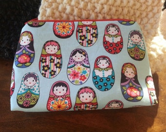 Zipper Pouch - Baby Blue Russian Dolls