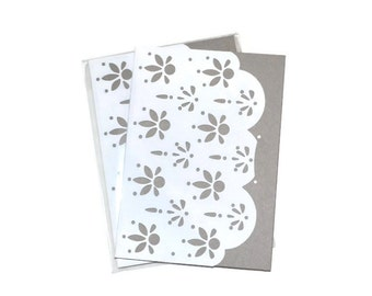 Pale Grey Eyelet  Soft Cover Blank Journals Set of Two  5 x 7 Blank Journals