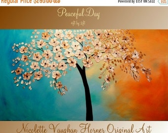 Sale ORIGINAL X Large  gallery wrap canvas  modern mixed media impasto trees  fine  art   painting   by Nicolette Vaughan Horner