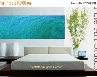 """Sale Original Modern 40"""" palette knife signature impasto abstract Seascape oil painting,thick texture , by Nicolette Vaughan H"""