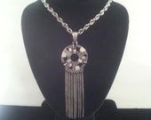 Vintage Runway Fringe Necklace 1970's Collectible Sarah Coventry Designer Signed Vintage Statement Jewelry ** Pewter Geometrical Necklace