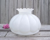 "14"" Lamp Shade Antique MILK Glass MELON Shade - for 14"" fitter - Replacement Globe - Ceiling Chandelier Hanging"