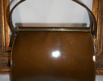 Vintage 1960's Leck Brown Patent Leather Kelly Handbag