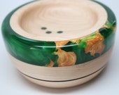 Artistic Handmade Wooden Ring Coin Dish made of Maple with and Green & Golden Pearl Resin Inlay – Wedding Engagement Gift, Collectible Art
