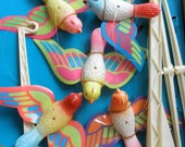 Vintage Baby Crib Mobile Plastic Birds Old Store Stock Original Box Dimestore 60s Infant Midcentury Kitsch Madmen Living Assemblage Supply