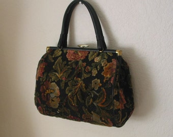 Vintage 1960s Handbag Purse Tapestry Cut Velvet Carpetbag