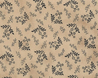 OLD GLORY GATHERINGS moda fabric by 1/2 yard-blue flowers sprigs on tan 1076-14- Primitive