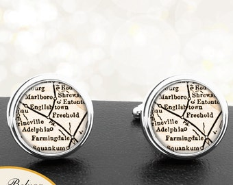 Map Cufflinks Freehold NJ Handmade Cuff Links USA City State Maps New Jersey Groomsmen Wedding Party Fathers Dads Men