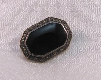 Victorian Onyx, Marcasite and Sterling Pin