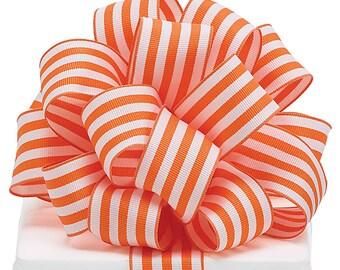 "5yds Grosgrain Ribbon 1-1/2"" Wired Edge ORANGE & WHITE Stripe"