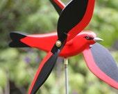 Scarlet  Tanager Whirligig,Whirlybird, Yard Art, Whirlygig