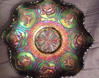 Fenton Carnival Glass Dragon and Lotus Ruffled Bowl