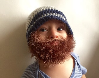 Handmade Crochet Beard hat, beard beanie. Mixed white and navy blue hat with light brown, coca, light brown, beard hat, baby beard hat,i
