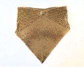 Vintage Mod Gold Toned Metal Mesh Bib Necklace