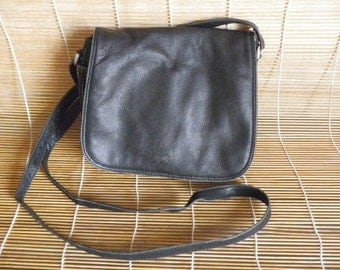 Vintage Small Medium Size Black Leather Shoulder Strap Bag