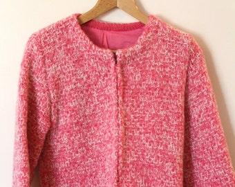 Valentine Sale Vintage Bright Pink Mohair Cardigan M/L