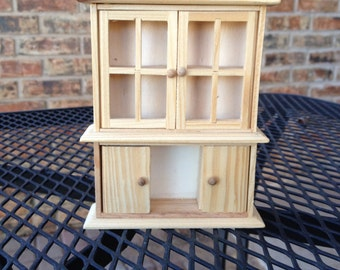 Unfinished hutch for dollhouse ready to paint and decorate