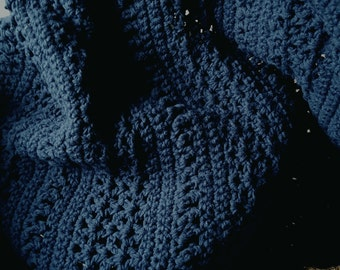 Navy Blue Afghan Blanket 2 Strand Extra Thick 67 x 48 Several Pattern Stiches Used