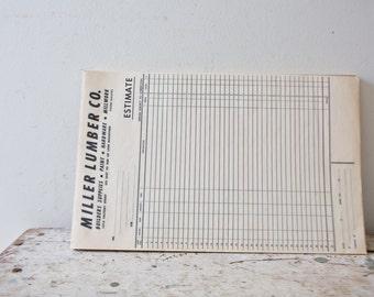 Vintage Paper - Miller Lumber Co Estimate Paper - Vintage Ephemera -  Vintage Paper - Pad of Paper - Supplies List - Receipt Paper