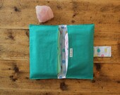 nappy wallet // diaper wallet, vintage fabrics, bright teal green, 80s polkadot, pastel, upcycled