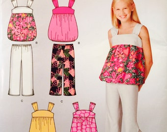 Simplicity 2236, Size 7-8-10-12-14, Girl's Dress or Top and Cropped Pants Pattern, UNCUT, Sun Top, Its So Easy Pattern, 2011