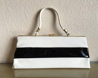 Vintage Handbag - Black and White Vinyl - 60's - Large - Mad Men - VLV - Rockabilly
