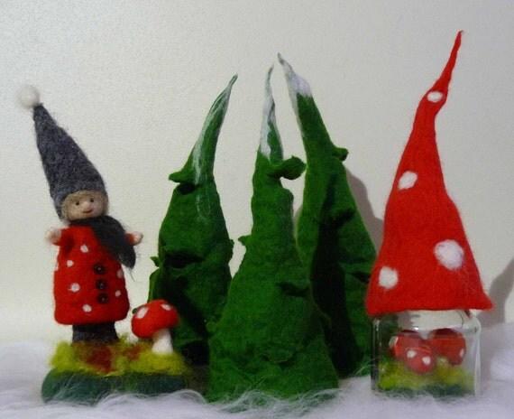 gefilzte weihnachtsbaum teelichthalter waldorf inspiriert. Black Bedroom Furniture Sets. Home Design Ideas