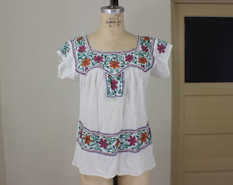 Indian Cotton Blouse / Vintage Embroidered Top / Women's Summer Blouse