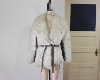 Mongolian Curly Lamb Coat / Vintage Shaggy Fur Jacket / Women's Medium-Small Outerwear