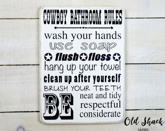 Bathroom Signs To Clean Up After Yourself ranch rules | etsy