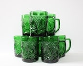 Set of Eight Emerald Glass Tea/Coffee Cups