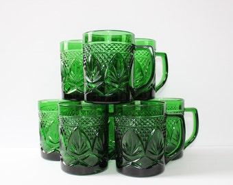 Set of Eight Emerald Glass Tea/Coffee Cups