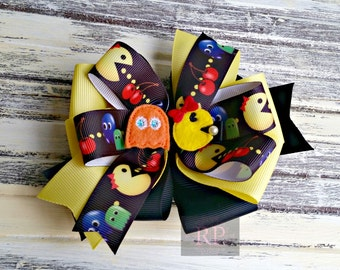 Stacked Boutique Loopy Pinwheel Bow with Mrs. PacMan Felt Clip Center - Gamer Hairbow - Handsewn Bow - Ready to Ship (RTS)