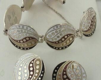 Jaime Quiroz ALBA Sterling BRACELET & Earring Set Mexico ENAMEL Vintage