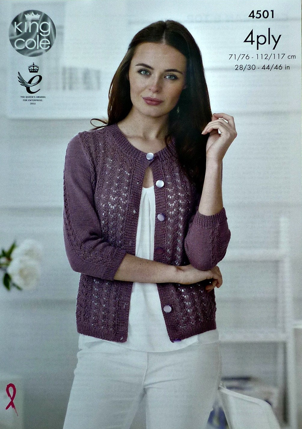 Womens knitting pattern k4501 ladies 34 sleeve round neck lace womens knitting pattern k4501 ladies 34 sleeve round neck lace cardigan knitting pattern 4ply sport king cole bankloansurffo Image collections