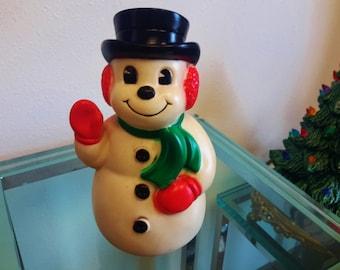Snowman Coin Bank 1960's Niagara Plastics Vintage Christmas Decor Gift