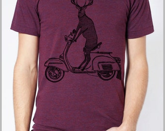 Men's Deer riding a Scooter Tee T Shirt American Apparel Tshirt XS, S, M, L, XL 9 COLORS Clothing Nature Gift for him