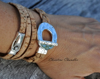 Silver Toggle Cork Leather Bracelet - Leather and Silver Bracelet - Leather Bracelet - Braided Leather Bracelet - Leather and Silver Jewelry