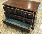 Wood Vintage Jewelry Box with blie velvet lined inside music box cottage chic