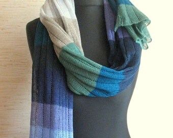Linen Scarf Blue Green Purple Gray Organic Linen Women's Scarf Pure Linen Spring Clothing