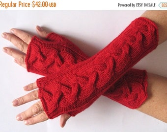 "Deep Red fingerless gloves 10"" arm warmers mittens Acrylic Wool"
