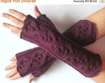 Violet Fingerless Gloves Long Purple 14 inch Mittens Arm Warmers, Acrylic Wool