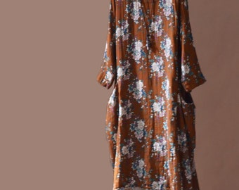 Orange printing long dress Women Cotton dress
