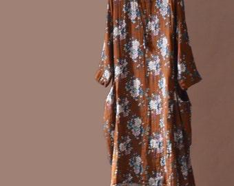 Orange printing long dress Women Cotton dress