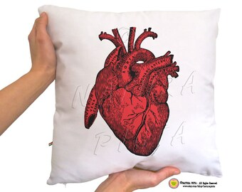 Red heart anatomy cushion cover-love pillow case-heart cushion cover-love pillow-valentines day gift-pillow-home decor-NATURA PICTA NPCP037