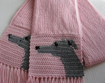 Greyhound dog scarf. Pastel pink scarf with gray greyhounds. Knit scarf.