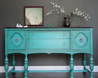 "SOLD***   Antique Ornate Buffet, Sideboard, Entry Table aqua teal turquoise, Dark Stained Top ""Turqipose Evolution"" Modern Vintage"